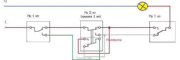 Схема подключение проходных выключателей на 3 точки выключения.