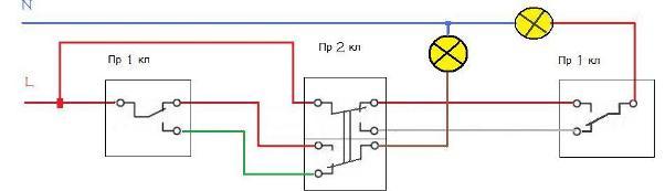 Схема подключение проходных выключателей на 2 линии, объединенных 2 кл. выключателем.
